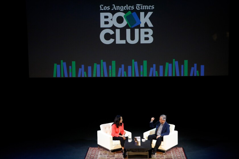 Times reporter Teresa Watanable interviews George Takei onstage.