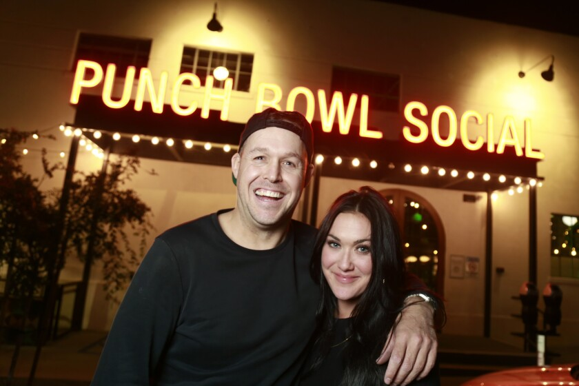 Blind Daters Ellie and Chris at Punch Bowl Social in East Village.