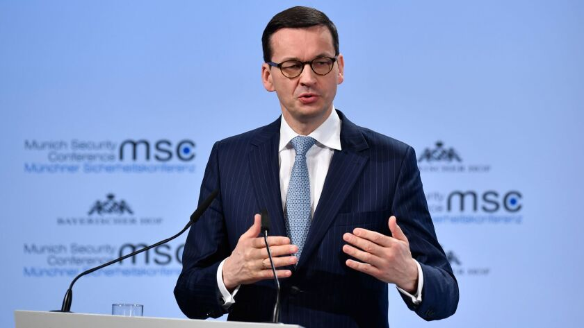 Polish Prime Minister Mateusz Morawiecki speaks at a security conference in Munich, Germany, on Feb. 17, 2018.