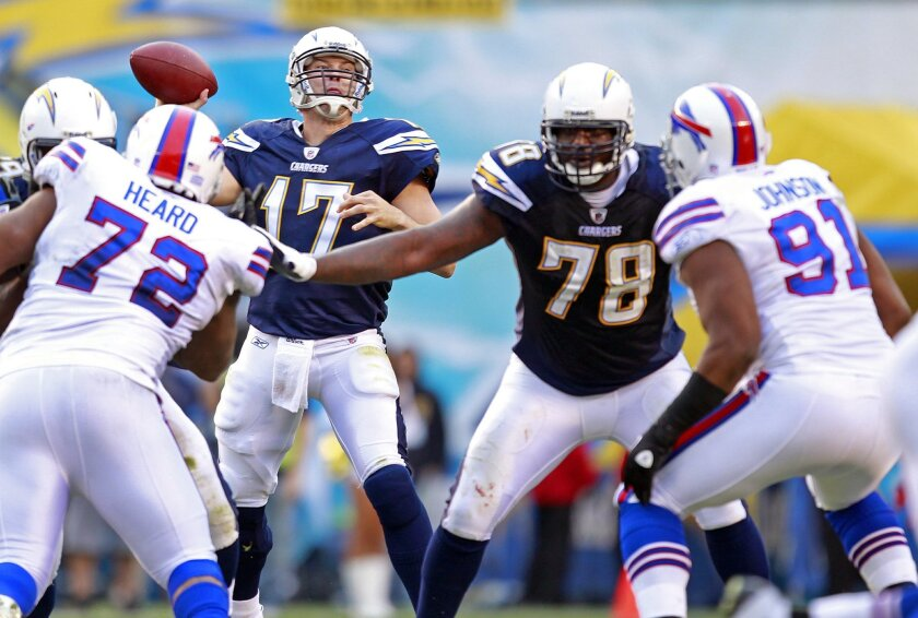 Chargers' new left tackle Jared Gaither protects quarterback Philip Rivers against the Bills.