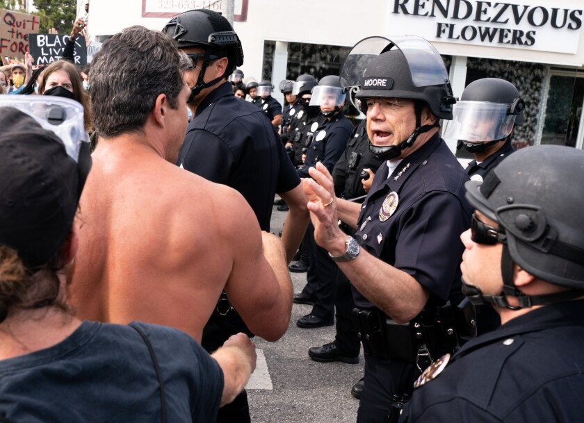 LAPD Chief Michel Moore at protest
