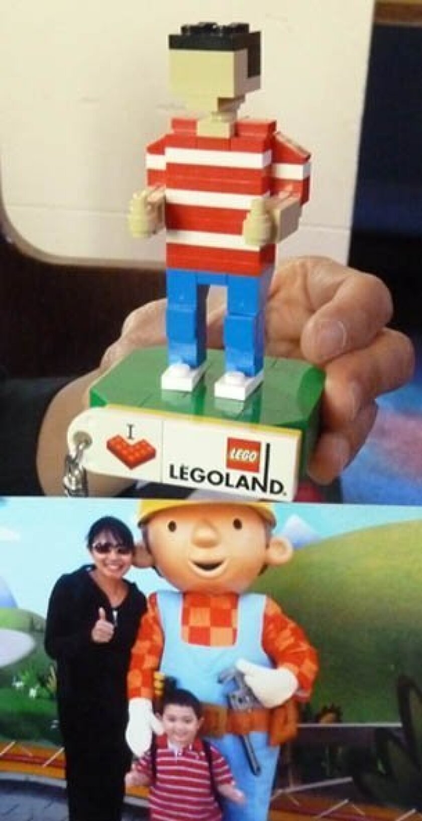 This photo of Mikael Larson and his mother, Maria, at Legoland inspired the thumbs-up Lego figure (above) that was placed in Miniland in memory of the 6-year-old who died in 2012.