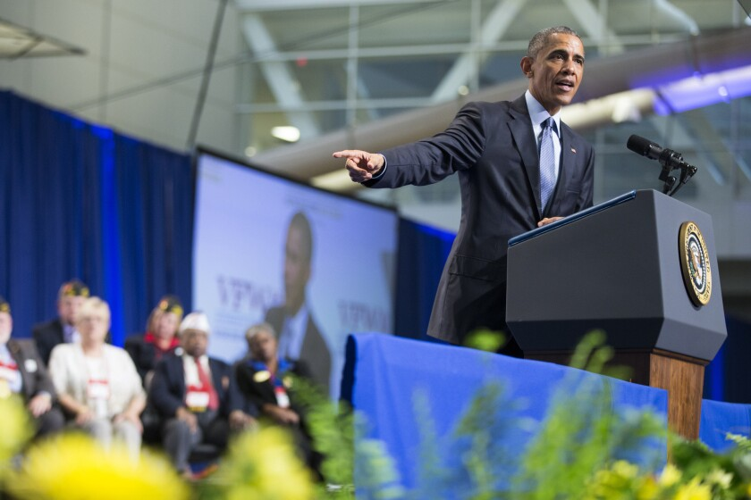 President Obama gestures during a speech to the Veterans of Foreign Wars convention in Pittsburgh on July 21.