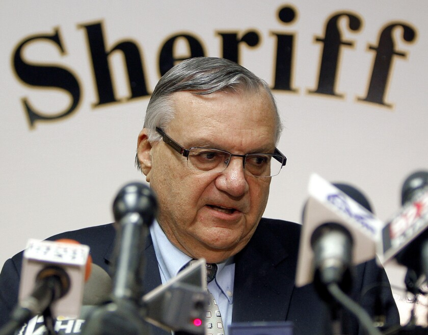 Maricopa County Sheriff Joe Arpaio, shown in 2012, testified Wednesday in a hearing to determine whether he and top aides should be held in contempt.