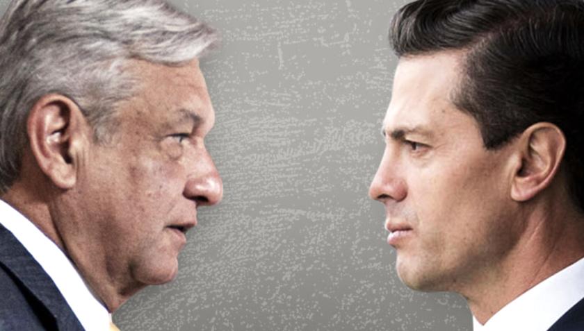 El candidato Andrés Manuel López Obrador (i) y el presidente de México, Enrique Peña Nieto.