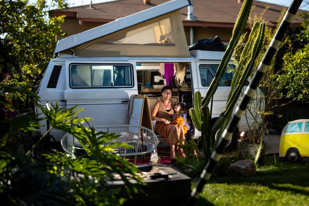 Artist Tanya Aguiñiga has been working out of a Volkswagen camper in her yard since coronavirus struck
