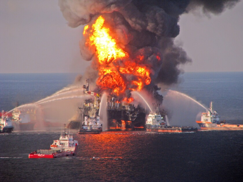 An explosion on the Deepwater Horizon drilling rig caused a massive oil spill in the Gulf of Mexico in 2010.