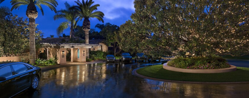 The entrance to the Rancho Valencia Resort & Spa Clubhouse.