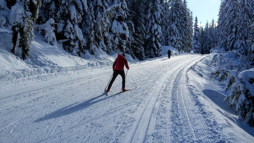 Nordic skiers enjoy the groomed conditions at Cabin Creek, just east of Snoqualmie Pass.