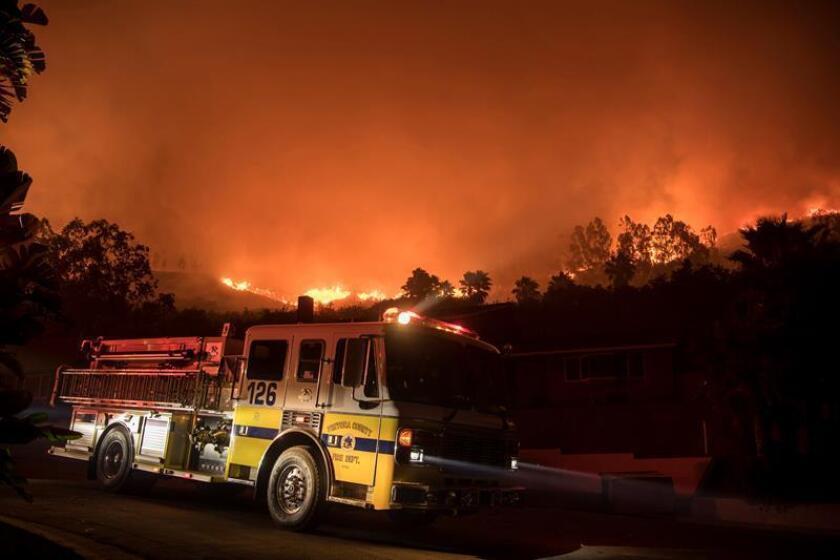 """El presidente Donald Trump declaró hoy el estado de desastre en California con motivo del incendio """"Thomas"""", que arde en el sur del estado desde hace casi un mes y que ya figura como el fuego más grande registrado en la historia de esa región. EFE/ARCHIVO"""