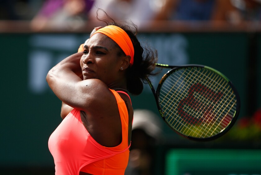 Serena Williams defeated Sloane Stephens in a fourth-round match at the BNP Paribas Open, 6-7 (3), 6-2, 6-2.