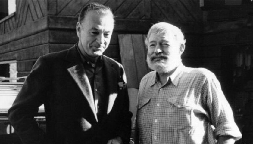 """Gary Cooper and Ernest Hemingway in """"Cooper and Hemingway."""""""