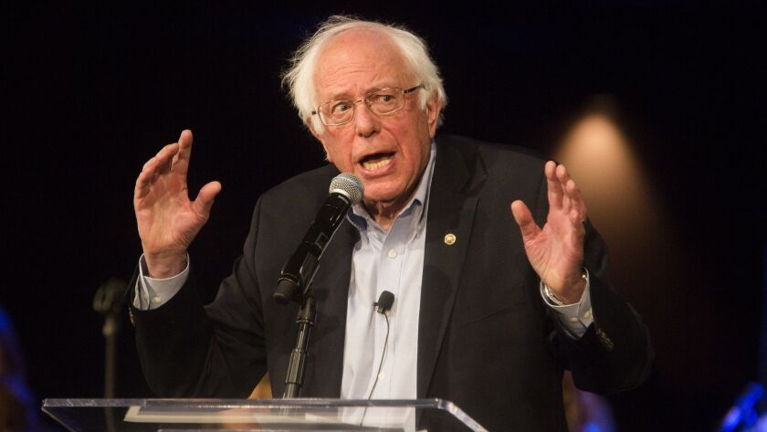 Senator Bernie Sanders speaks during a rally championing the cause of Disney increasing pay rates fo