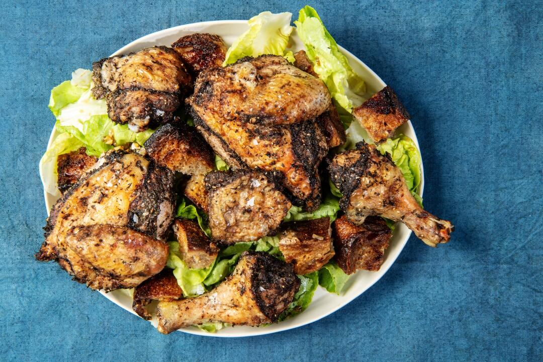 Jerk-ish Chicken and Bread Salad