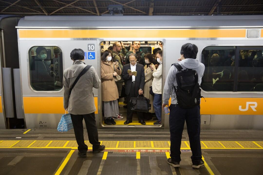 Passengers seen inside the subway. Although the Coronavirus