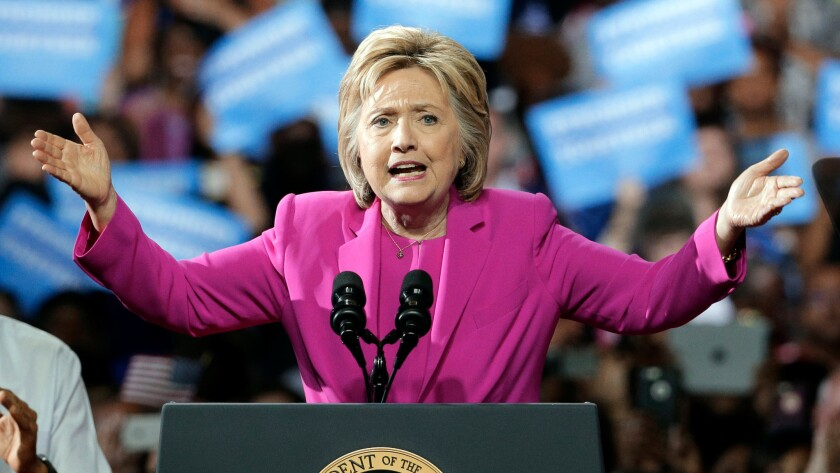 Democratic presidential candidate Hillary Clinton speaks at a campaign rally in Charlotte, N.C., on July 5.