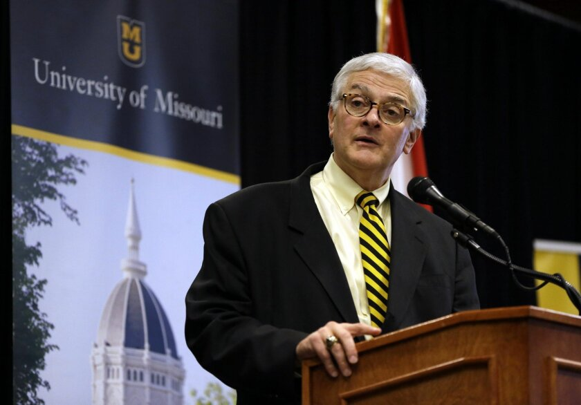 """FILE - In this Jan. 27, 2016 file photo, University of Missouri interim chancellor Hank Foley speaks in Columbia, Mo. Foley says a new video shows """"appalling"""" behavior from an assistant professor who was suspended for run-ins with student journalists during university protests last year and warrant"""