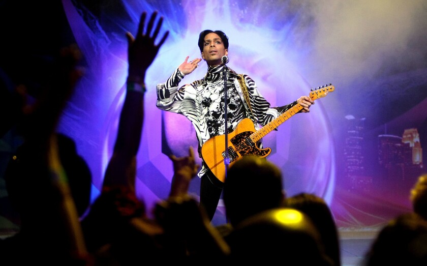 Prince performs at the Nokia Theatre in Los Angeles on March 28, 2009.