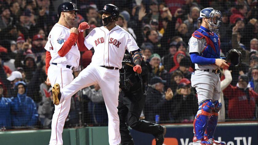 BOSTON, MA TUESDAY, OCTOBER 23, 2018 Red Sox Eduardo Nunez celebrates after hitting a three run ho