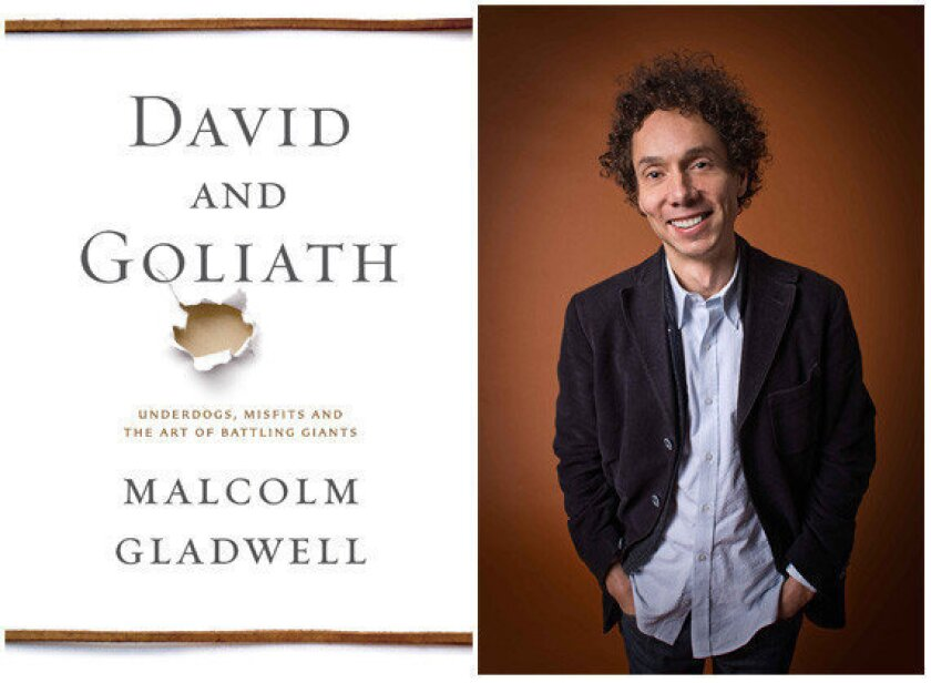 """The cover of """"David and Goliath"""" and author Malcolm Gladwell."""