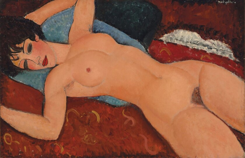 """""""Reclining Nude,"""" created in 1917 to 1918 by Amedeo Modigliani."""