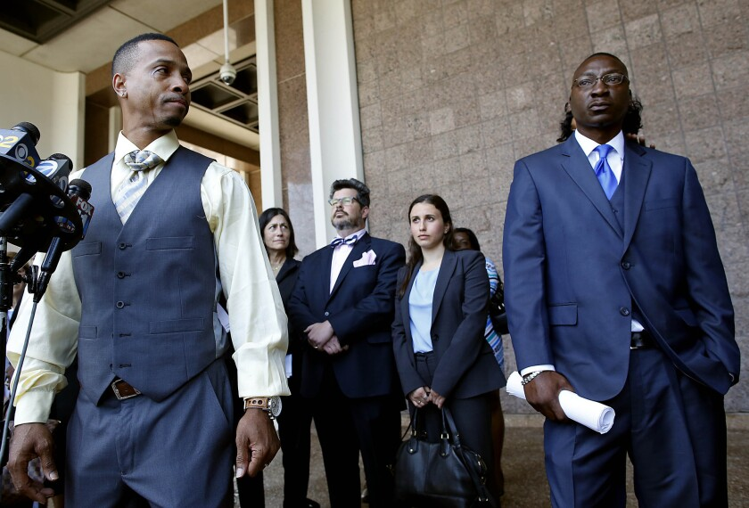 Obie Steven Anthony, who served 17 years in prison for a slaying he didn't commit, addresses the media Monday in Compton.
