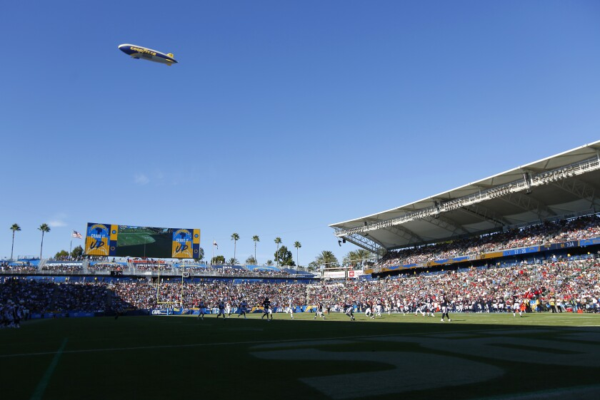 The Goodyear blimp flies over Carson's Dignity Health Care Sports Park during last season's Los Angeles Chargers vs. Houston.