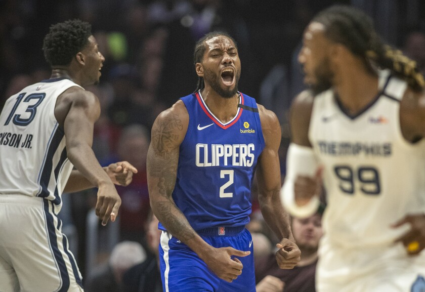 Clippers forward Kawhi Leonard shouts in frustration after a missed scoring opportunity against the Memphis Grizzlies on Jan. 4, 2020, at Staples Center.