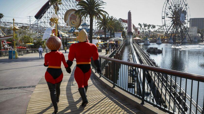 "ANAHEIM,CA --THURSDAY, JUNE 21, 2018--Mr. Incredible and Elastigirl, from Pixar's ""Incredibles"" fran"