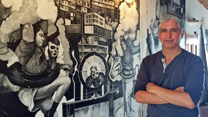 Painter Hugo Crosthwaite in his studio in Rosarito