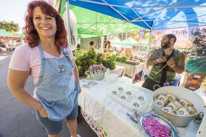 Barbara Martin (the Dairy Goddess) sells farmstead cheeses from Lemoore.