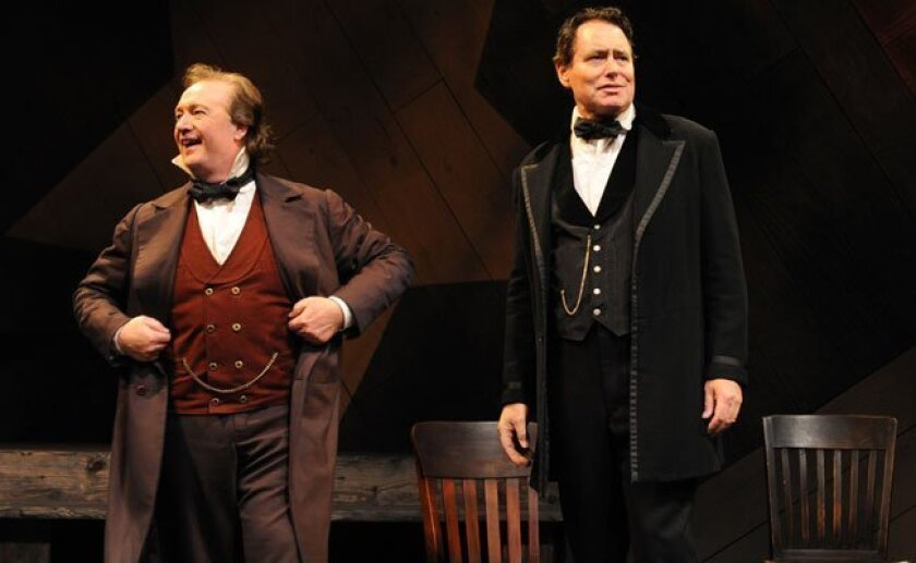 """Robert Smyth as """"Stephen Douglas"""" and David Cochran Heath as """"Abraham Lincoln"""" in THE RIVALRY, directed by Deborah Gilmour Smyth, Lamb's Players Theatre, 2010."""