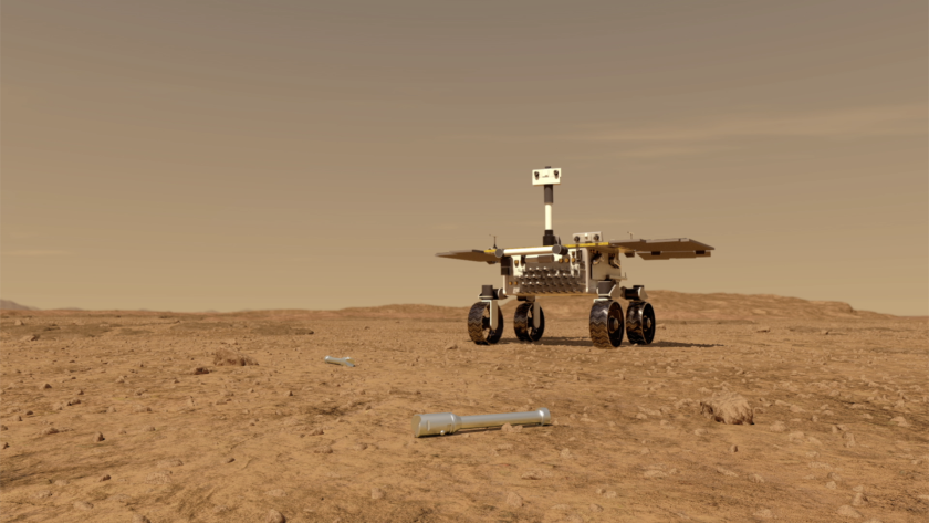 A rover fetches samples