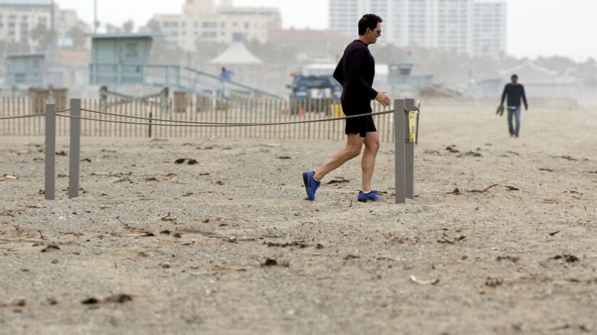 A beach-goer walks near a restoration area on the beach in Santa Monica that planners hope will give