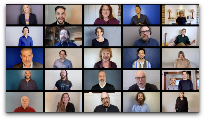 A collage of screens shows 25 performers singing.