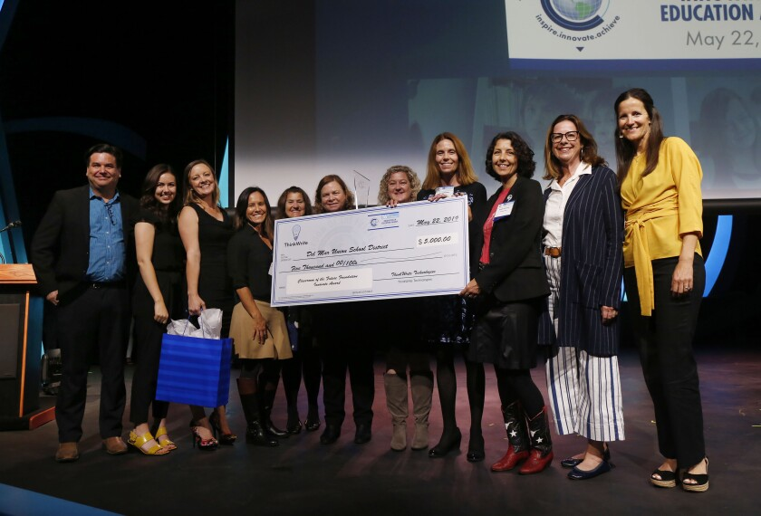 Del Mar Union School District teachers and staff receive the Innovate Award from the Classroom of the Future Foundation.