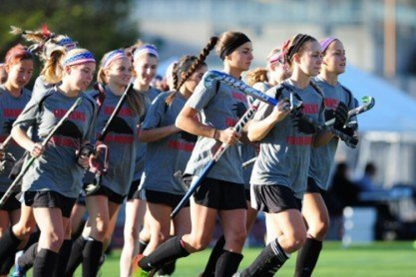 Nov. 23 was a historic day for CCA athletics as the school won two Division II CIF championships. The girls field hockey team defeated Serra 2-1 in double overtime when senior Katie Carlson scored late in the sudden death period. At Morley Field, the CCA boys cross country team won its first CIF title and advanced to next weekend's California CIF Cross Country State Championships in Fresno. Photo/Anna Scipione