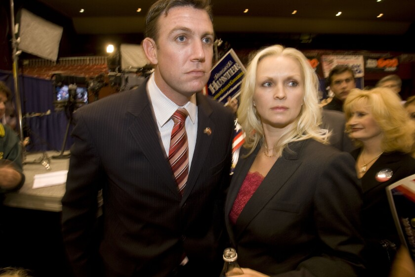 Duncan Hunter and wife Margaret appear in this Nov. 4, 2008 file photograph.