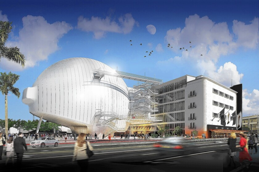 A rendering of the planned academy film museum, as seen from Fairfax Avenue.
