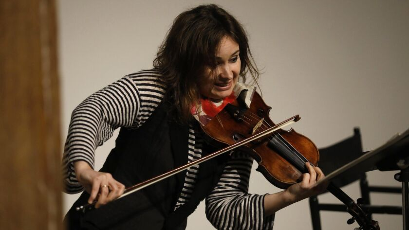 LOS ANGELES, CA - APRIL 30, 2018 - Violinist Patricia Kopatchinskaja performs at a small benefit con