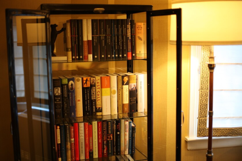 "Classics ""Gone With the Wind"" and ""A Farewell to Arms,"" bestsellers including ""Steve Jobs"" by Walter Isaacson and award-winners like ""Far From the Tree"" by Andrew Solomon are part of the library in the Simon & Schuster suite at the Algonquin."