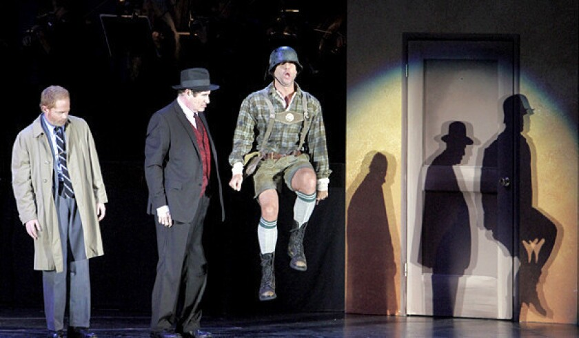 """Jesse Tyler Ferguson as Leo Bloom, Richard Kind as Max Bialystock and Dane Cook as Franz Liebkind in the musical """"The Producers"""" at the Hollywood Bowl."""