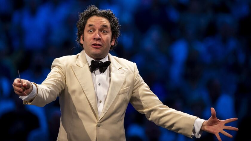 LOS ANGELES, CALIF. - JULY 10: Maestro Gustavo Dudamel conducts the L.A. Philharmonic in a program c