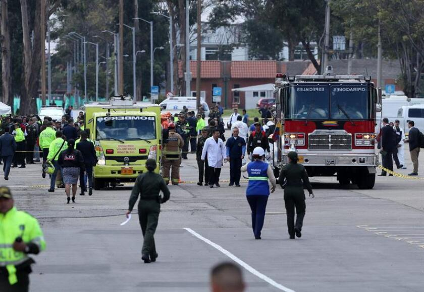 General view of the place where a car-bomb blast caused an explosion on Jan. 17, 2019, at the Santander General Academy of Police in Bogota, Colombia. At least eight people were killed an 10 injured by the detonation of a car bomb in a parking lot, the Colombian Defense Ministry said. EPA-EFE/ Mauricio Dueñas Castañeda
