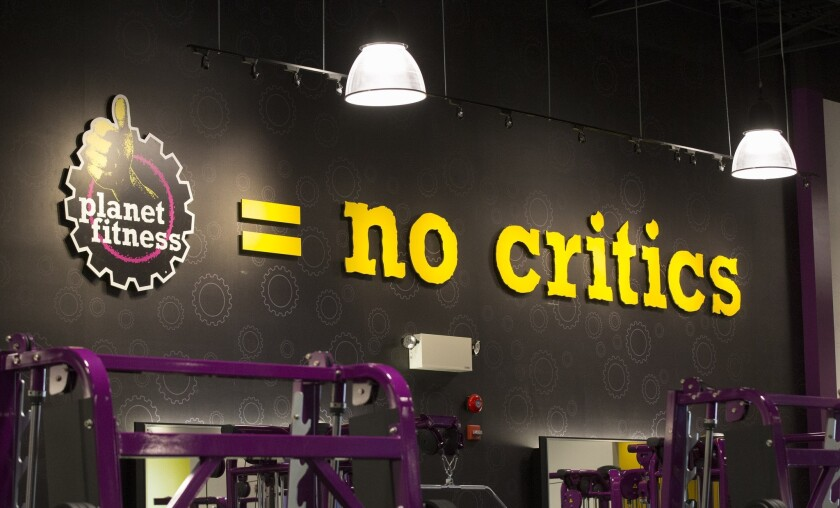 """Planet Fitness, a low-cost gym chain, advertises its """"judgement free-zone."""""""