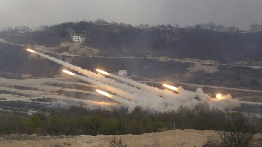 The South Korean army launches multiple rockets during joint South Korea-U.S. military drills at Seungjin Fire Training Field in Pocheon, South Korea, on April 26, 2017.