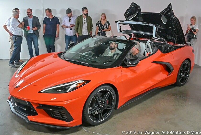 2020 Corvette Stingray convertible with the top partially retracted