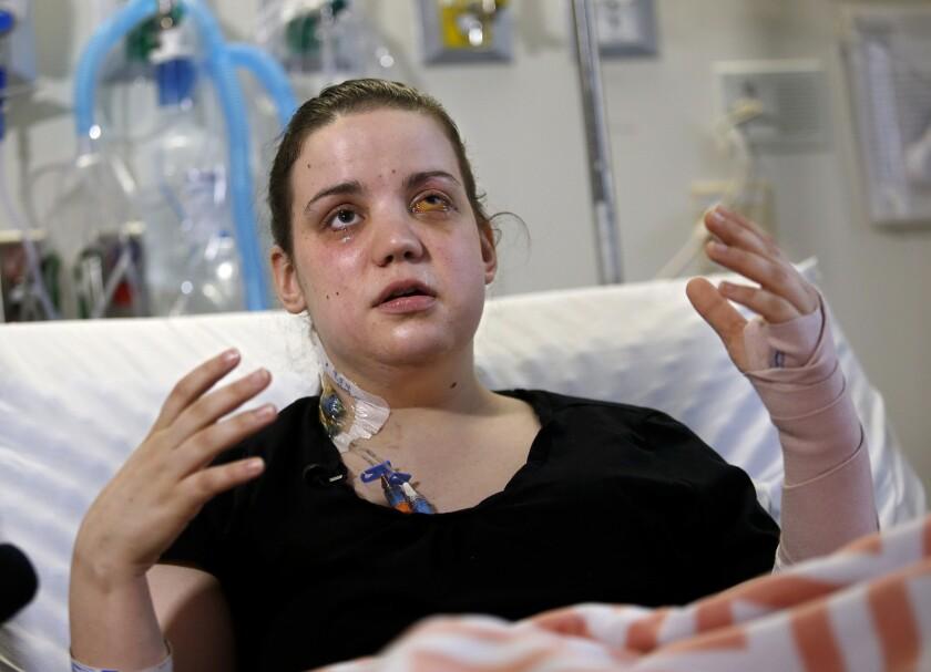 Oso slide survivor Amanda Skorjanc, 25, suffered two broken legs, a broken arm and a shattered eye socket. Her baby's skull was broken, but he is improving, doctors say.