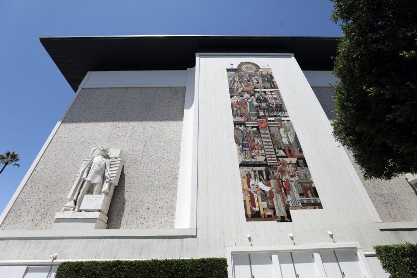 Artist Millard Sheets designed the Italian marble and travertine Scottish Rite Masonic Temple.