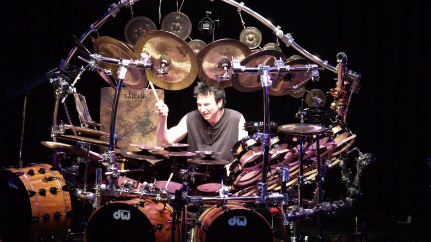 Terry Bozzio with part of the world's largest tuned drum and percussion set.